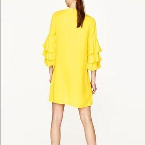 Zara Dresses - NWT Zara Frilled Sleeve Yellow Mini Dress f7186d114